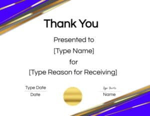 Thank you award certificate