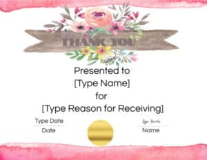Flower certificate template