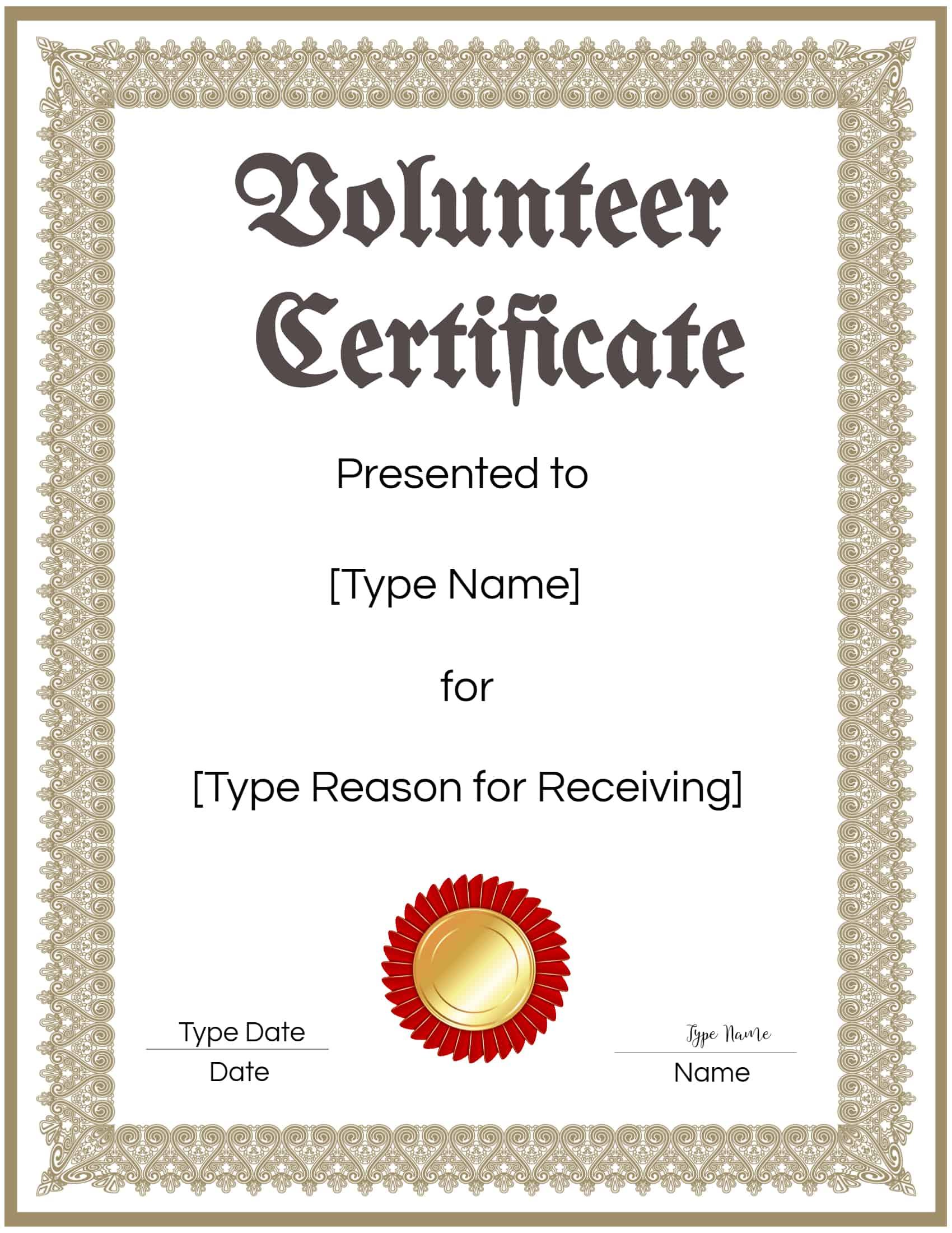 FREE Volunteer Certificate Template  Many Designs are Available With Volunteer Certificate Templates