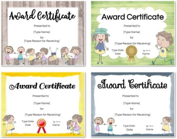 Award template with cute pictures of kids