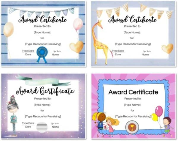 Pretty certificate templates for kids