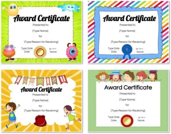 Colored award templates