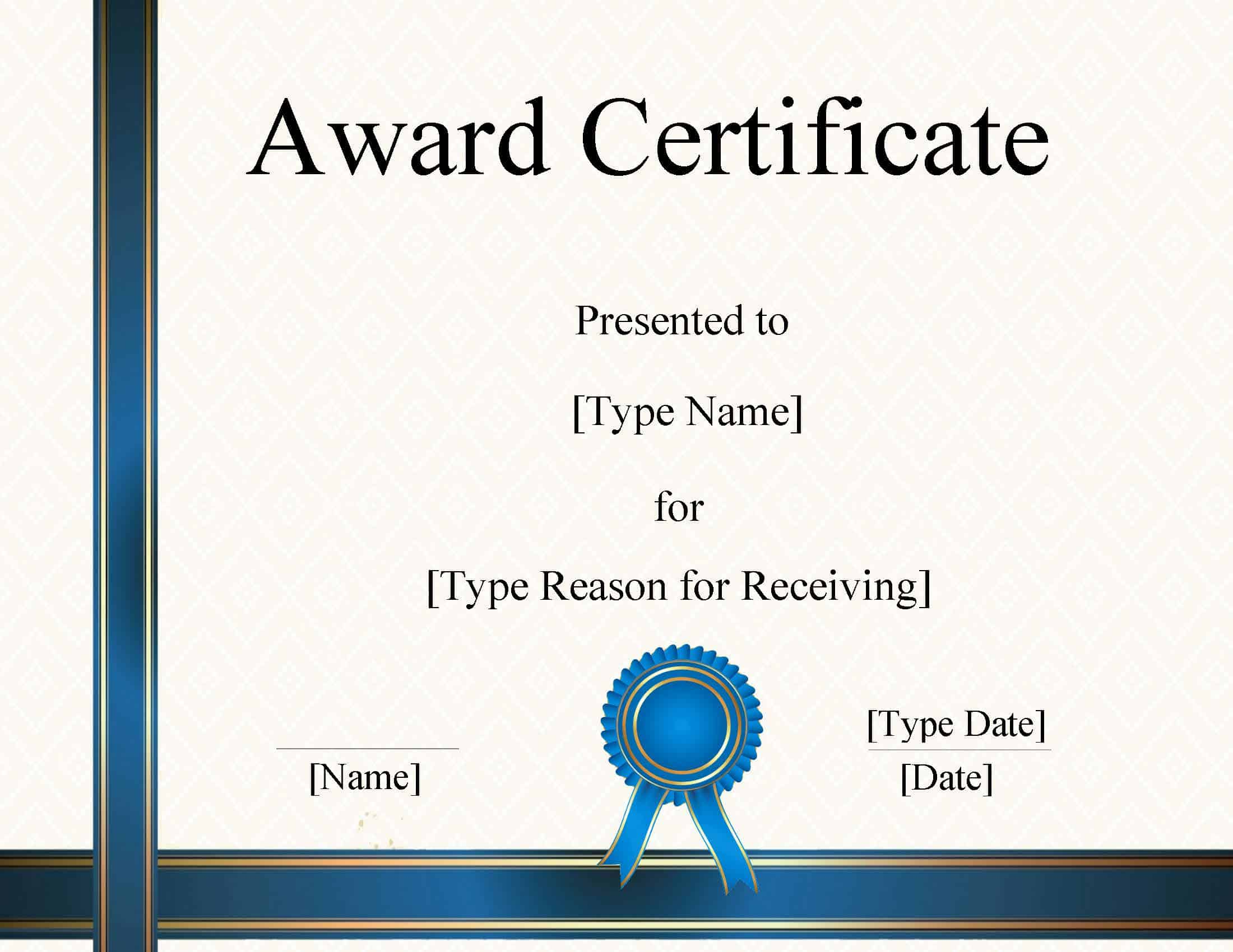 FREE Certificate Template Word  Instant Download Inside Award Certificate Design Template