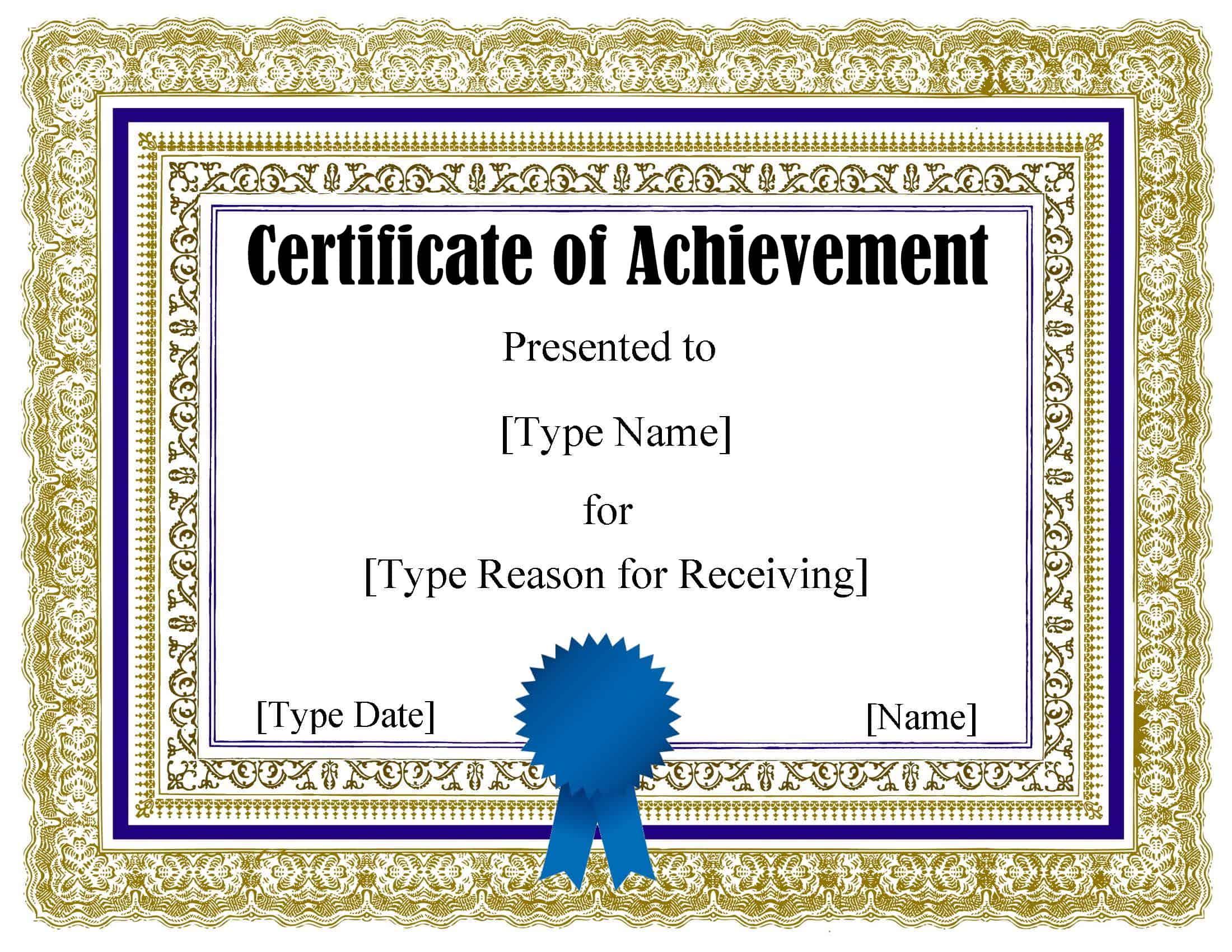 certificate word template achievement editable pdf