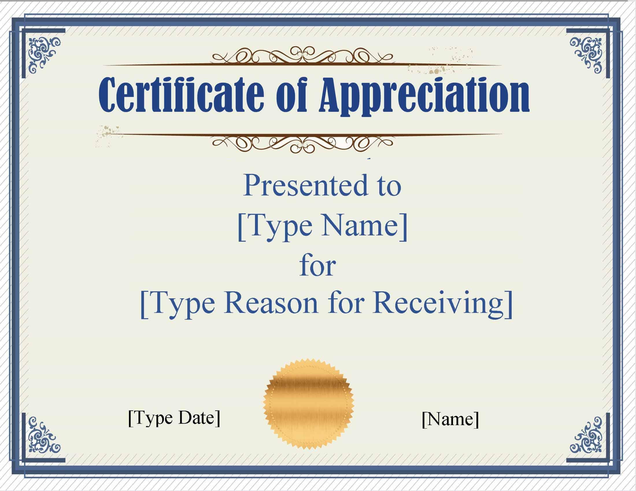 certificate word template appreciation