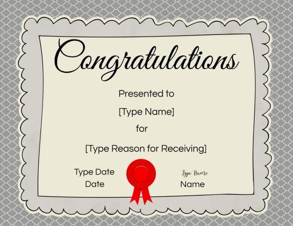 Congratulations Award Certificate Template