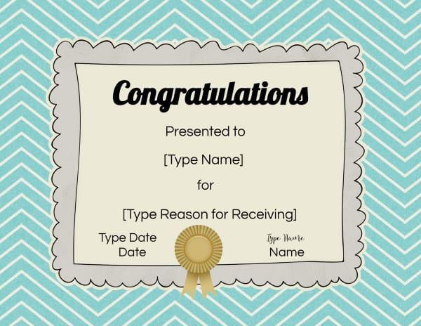 Congratulations Certificates to Print