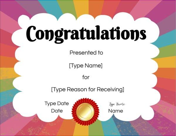Congratulations You Did It Certificate