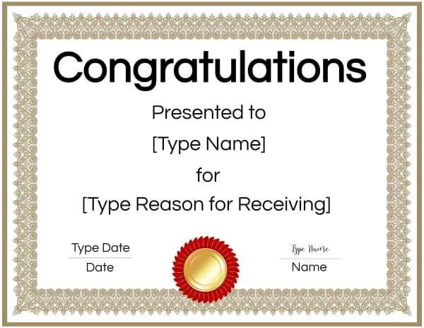 Congratulations Award Certificate