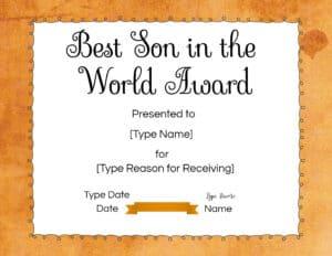 Best son certificate