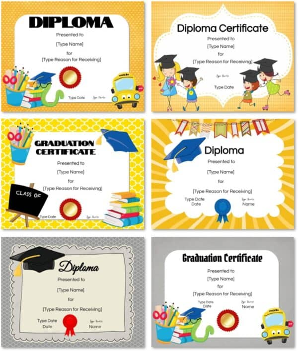 preschool diploma award certificates