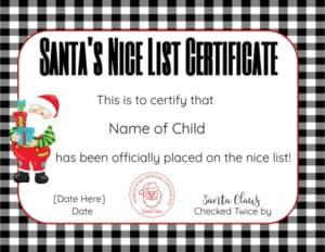 Santas Nice List Certificate Template