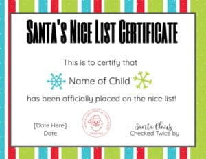 Santa Certificate