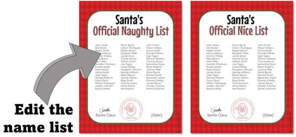 santa nice list and naughty list