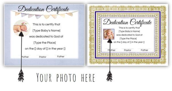 child dedication certificate
