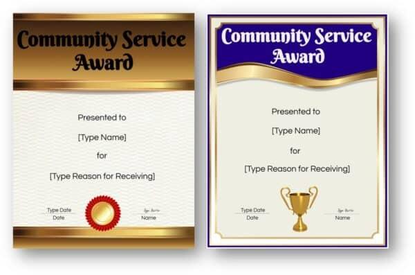 community service award certificates