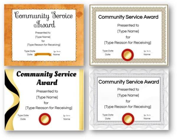 community service certificates