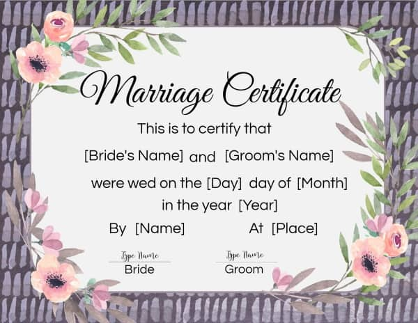 fake marriage certificate online